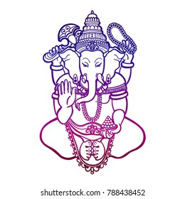 Ganesha. God of wisdom and prosperity in Hinduism. Linear style. Raster copy.