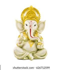 Ganesha Hindu God, Ganesha Idol isolated on white background