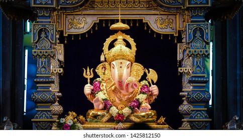 Ganesha idol at Dagdusheth Halwai, Pune at famous Ganesh festival in India