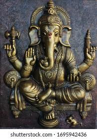Ganesha mural like brass finish