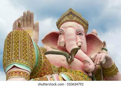 Ganesha Pink  statue in Nakhon Nayok