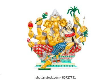 Ganesha statue on white background,Lord of success