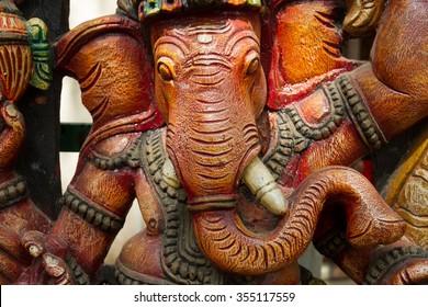 Ganesha. Wooden Ganesha. Colorful Ganesha.Elephant.