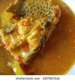 Gang Som, Yellow Curry Soup with Bamboo Shoot and Sea Bass Fish, Sour soup made of Tamarind Paste or Turmeric