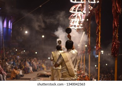 Ganga Aarti on the Dashashwamedh ghat located on bank of Ganges at Varanasi , India. Man perform this ritual every evening. Many native and globetrotter assemble at this holy site everyday.