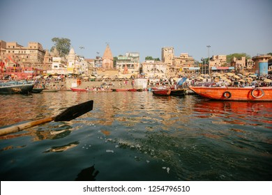 Ganga river and Varanasi ghats morning view from boat river side