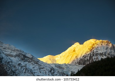 Gangapurna view in sunrise in Himalayas from Manang