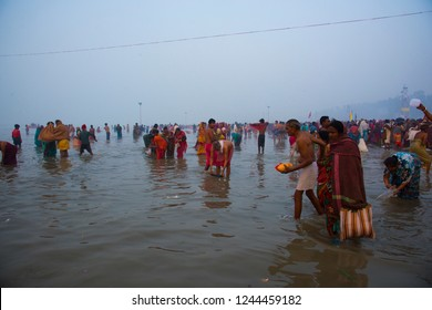 GANGASAGAR, INDIA 14 JANUARY 2018 : An unidentified Hindu pilgrim takes a holy dip in Ganges on the day of 'Makar Sankranti' at sunrise in Gangasagar Islands, West Bengal,India.