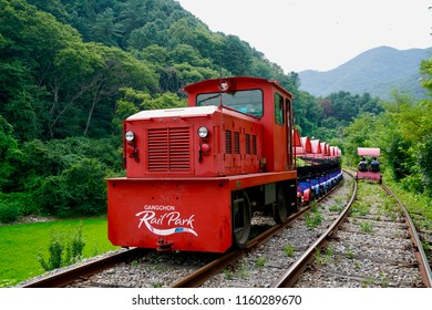 Gangchon Rail Park, Chuncheon, Korea - 23 July 2018: The rail cart for visitors to ride along old railroad tracks in the theme park.
