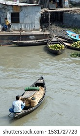 Ganges Delta / Bangladesh - Feb 16 2006: A small boat is transporting goods in the Ganges Delta. Waterways of the Ganges Delta in southern Bangladesh.