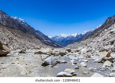 The Ganges river flowing down the Gangotri valley in Uttarakhand India.
