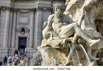 The Ganges River statue of the Fountain of the Four Rivers is seen at Piazza Navona
