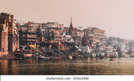 Ganges river ,Varanasi, on boat cruise on the river Ganges to observe the way of life of the pilgrims by the Ghats.