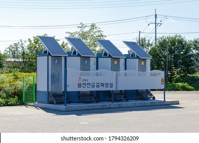 Ganghwa-gun, Incheon, South Korea July 15, 2020. Eco-friendly solar outdoor portable toilet.