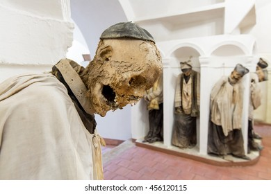 GANGI, ITALY -  July 03, 2016: The crypt of the mother church, where all priests are buried mummified.