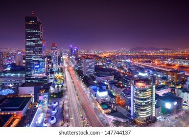 Gangnam District, Seoul, South Korea skyline at night.