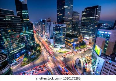 Gangnam square in night at seoul south Korea