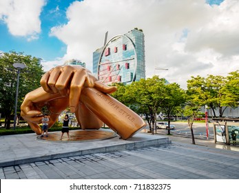 Gangnam style statue in front of coex mall on Sep 1, 2017 in the Gangnam District in Seoul city, Korea
