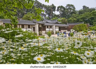 Gangneung city, Gangwon province, South Korea. May 2017. Seongyojang is Typical traditional house(hanok) of Korea in Gangneung-si, Gangwon-do Province.