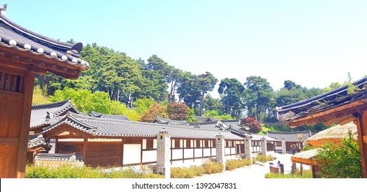 Gangneung city. Sungyojang. Gangwon Province. Korea, May 2. 2019: The spring scenery of Sungyojang, a traditional Korean house built before the 1700s, is a healing place to visit in Korea.