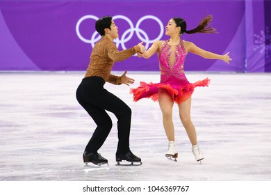 GANGNEUNG, SOUTH KOREA - FEBRUARY 11, 2018: Bronze medalists  Maia Shibutani andI Alex Shibutani of the United States perform in the Team Event Ice Dance Short Dance at the 2018 Winter Olympic Games