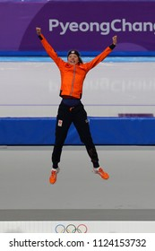 GANGNEUNG, SOUTH KOREA - FEBRUARY 16, 2018: Olympic champion Esmee Visser of Netherlands celebrates victory in the Ladies' 5,000m Speed Skating at the 2018 Winter Olympic Games at Gangneung Oval