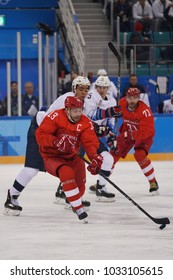 GANGNEUNG, SOUTH KOREA - FEBRUARY 17, 2018: Olympic champion and captain Pavel Datsyuk of Team Olympic Athlete from Russia in action against Team USA Men's ice hockey preliminary round game