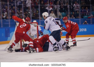 GANGNEUNG, SOUTH KOREA - FEBRUARY 17, 2018: Jordan Greenway of Team USA in action against Team Olympic Athlete from Russia Men`s ice hockey preliminary round game