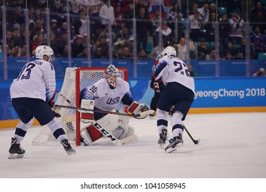 GANGNEUNG, SOUTH KOREA - FEBRUARY 17, 2018: Team USA in action against Team Olympic Athlete from Russia Men`s ice hockey preliminary round game at 2018 Winter Olympics