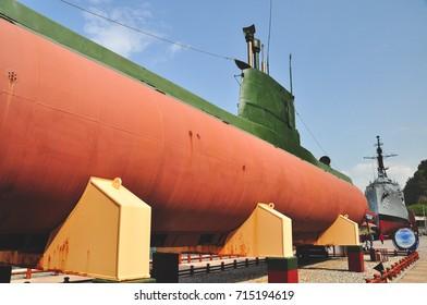 GANGNEUNG, SOUTH KOREA - MAY 6, 2011: Captured North Korean Submarine at The Gangneung unification park in South Korea