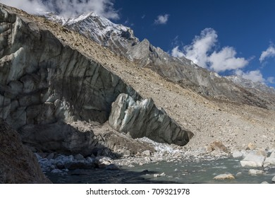 Gangotri glacier  terminus at Gaumukh, which is the headwaters of the Bhagirathi River (the main tributary stream of the Ganges). Gangotri National Park, Garhwal Himalayas, India.