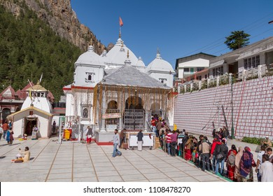 Gangotri, Uttarakhand - CIRCA May 2013 - Hindu pilgrims stand in line to enter the temple in Gangotri circa May 2013.