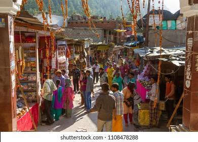 Gangotri, Uttarakhand - CIRCA May 2013 - Hindu pilgrims in the marketplace in Gangotri, circa May 2013.