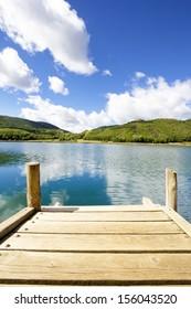 Gangplank in Montcortes lake in Baix Pallars, Catalonia, Spain