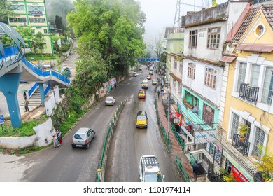 Gangtok city, Sikkim/North India - April  13,2018 : Traffic road at Gangtok city with biulding and city view
