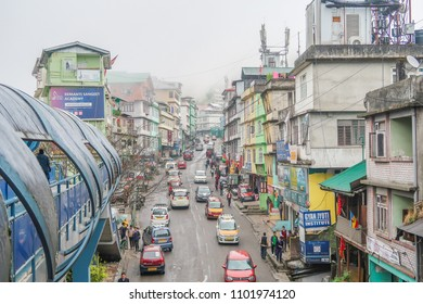 Gangtok city, Sikkim/North India - April  13,2018 : Traffic road at Gangtok city with biulding and city view on foggy day