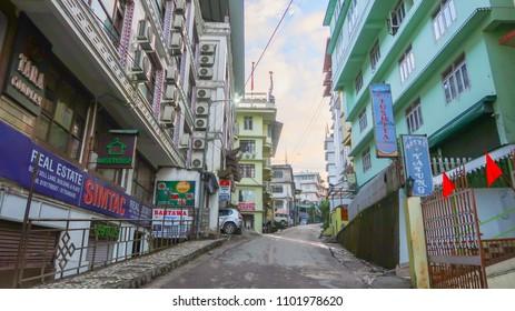 Gangtok city, Sikkim/North India - April  13,2018 : Gangtok city empty street downtown at morning time