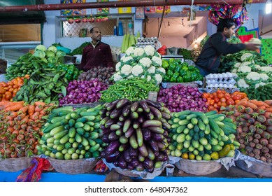 GANGTOK, INDIA - DECEMBER 4, 2016: Vendors at their stall at the Lal Bazaar morning market