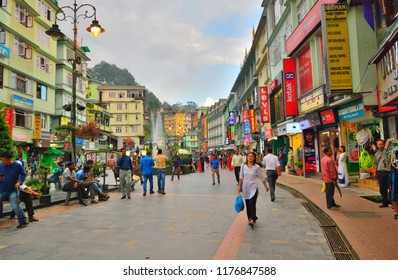 Gangtok, India - September 06, 2018: People walking in the busy MG Marg street.