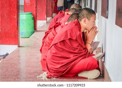Gangtok, Sikkim / India - April 13,2018 : Young tibetan monk pray and concentrate before examination at Rumtek monastry tibetan temple