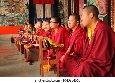 Gangtok, Sikkim, India - March 20, 2013 : Tibetan monks read mantra and pray in the prayer hall at Rumtek Monastery.