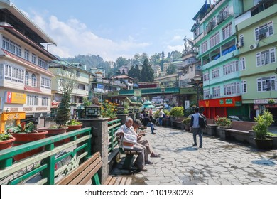 Gangtok,Sikkim/ India - April 14 2018 : Gangtok city view and people activities on road side at morning time.