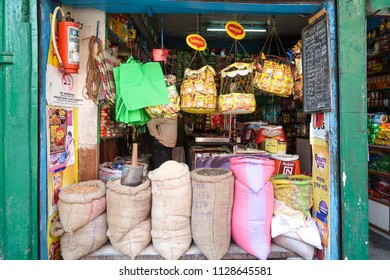 Gangtok,Sikkim/India - April 14,2018 : Front of local grocery shop open and ready sell rice cereal healthy food product at street side of Gangtok city