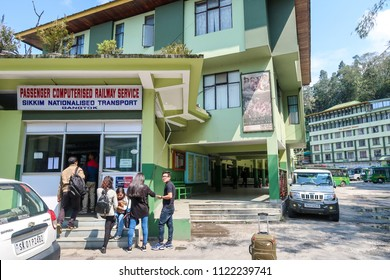 Gangtok,Sikkim/India - April 14,2018 : Group of tourist passenger wait at Gantok ,Sikkim passenger railway service for public trasportation