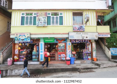 Gangtok,Sikkim/India - April 14,2018 : Local shop open on road side at Gangtok city