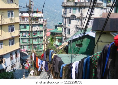 Gangtok,Sikkim/India - April 14,2018 : people dry clothes at the sun on pathway street local lifestyle at gangtok city