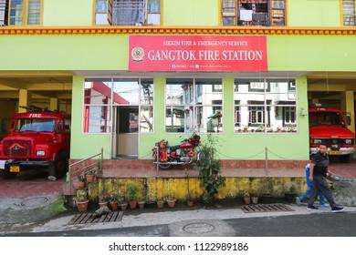 Gangtok,Sikkim/India - April 14,2018 : Public service Gangtok Fire Station and Emergency service buidling at gangtok city
