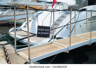 Gangway of a luxury yacht in the old port of Cannes, France