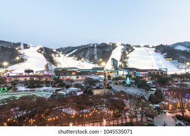 Gangwon-do, KOREA - March 1, 2018: Vivaldi Park Ski Resort or Daemyung Ski World in Pyeong near Seoul with panoramic view of snow mountain, recreational and leisure facilities and shopping mall