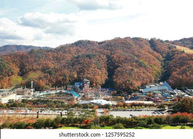 gangwon-do, South Korea -​ 10 29 2018 : The Vivaldi Park Resort in Gangwon-do, Seoul is famous for its water parks and ski resorts.